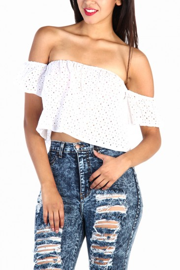 LoveMelrose.com From Harry & Molly   Off The Shoulder Eyelet Top in White