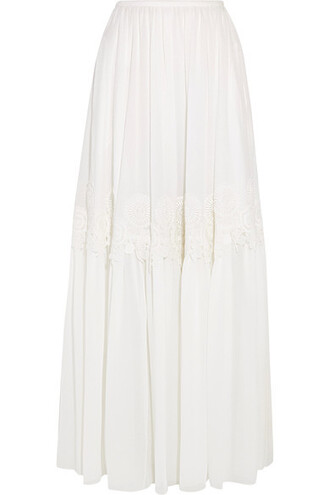 skirt maxi skirt maxi lace silk cream