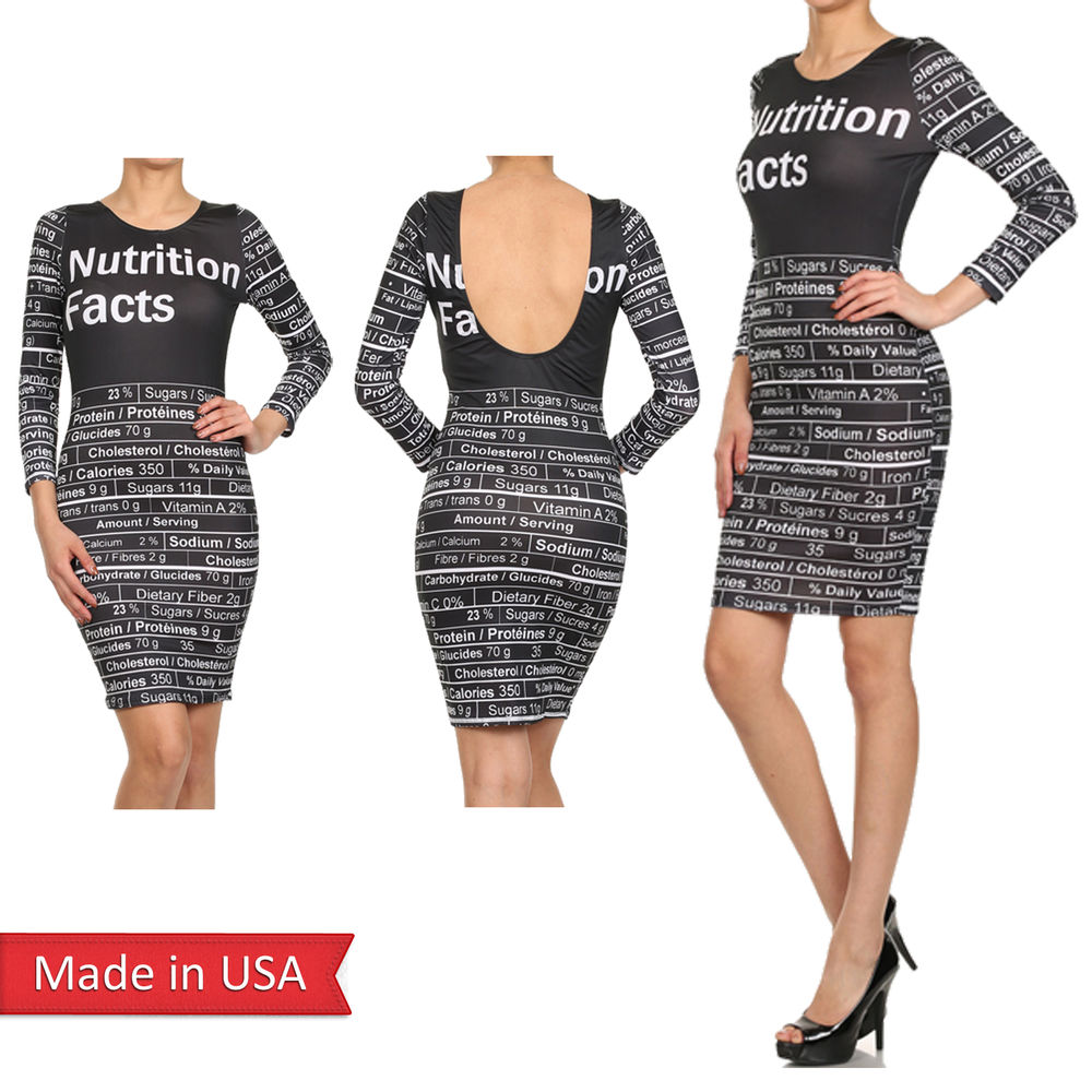New women nutrition facts graphic print text sexy bodycon 3/4 sleeve dress usa