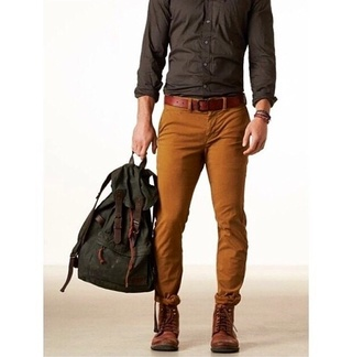 pants jeans backpack men's pants brown shoes mens shirt mens t-shirt menswear mens jeans designers style brown brown leather boots mustard mens accessories mens bag