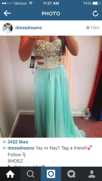 turquoise dress prom dress dress jewels
