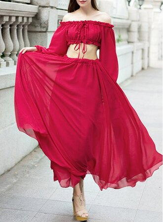 dress off the shoulder maxi skirt red crop tops trendy long sleeves summer spring gamiss