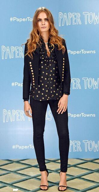 blouse shirt top blazer sandals pants cara delevingne shoes