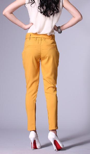 Wholesale fashionable bowknot embellished nine inches tunic pant orange