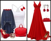 dress,red,bag,shirt,skirt,shoes,jewels