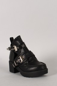 Harley-01 Buckle Cut Out Round Toe Ankle Bootie