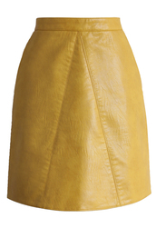 skirt,fetching faux leather skirt in mustard,chicwish