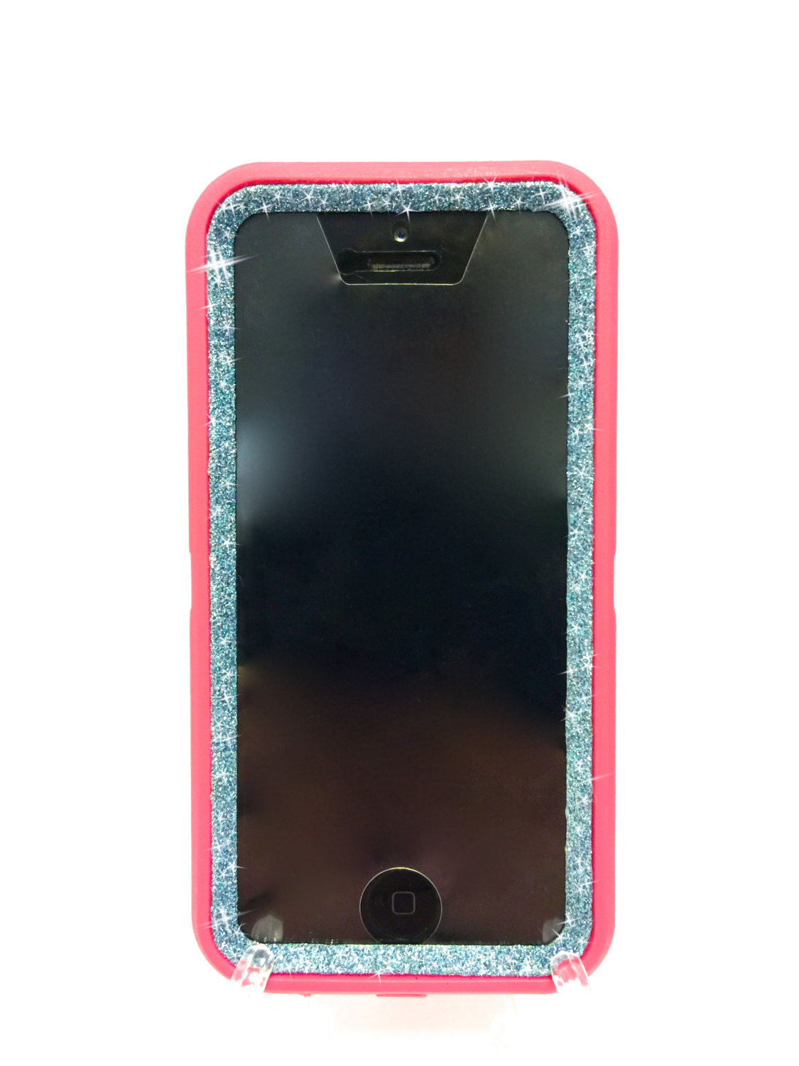the best attitude fa0e1 38a98 iPhone 5c Glitter OtterBox Defender Series Case Sparkly Bling Custom Case  Peony pink/ blue topaz.