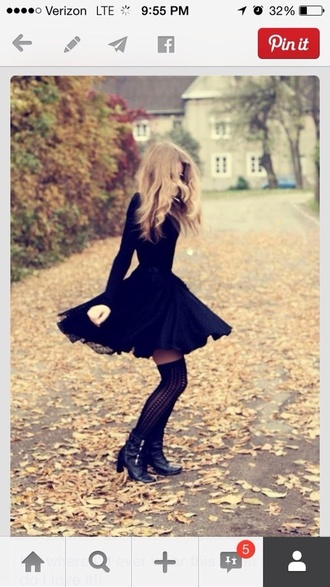 dress black dress shoes black boots socks black crochet socks sweater black sweater skirt black skirt