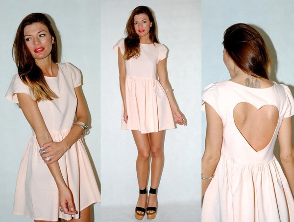 backless cap sleeve baby pink babydoll dress bag dress