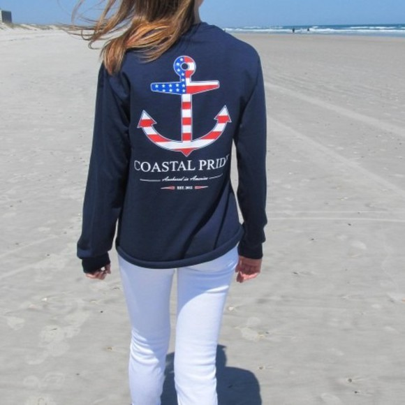 sweater flag coastal pride nautical anchor prep preppy