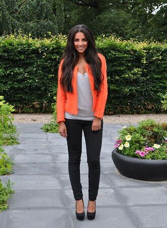 jacket coral orange bright colored blazer biker jacket neon orange t-shirt jeans