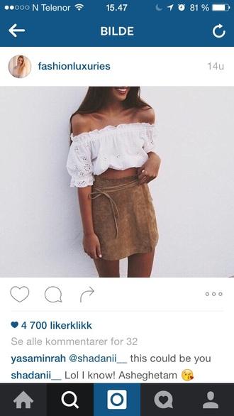 skirt leather leather skirt white white top outfit outfit idea summer summer outfits summer top girl girly girly wishlist pretty