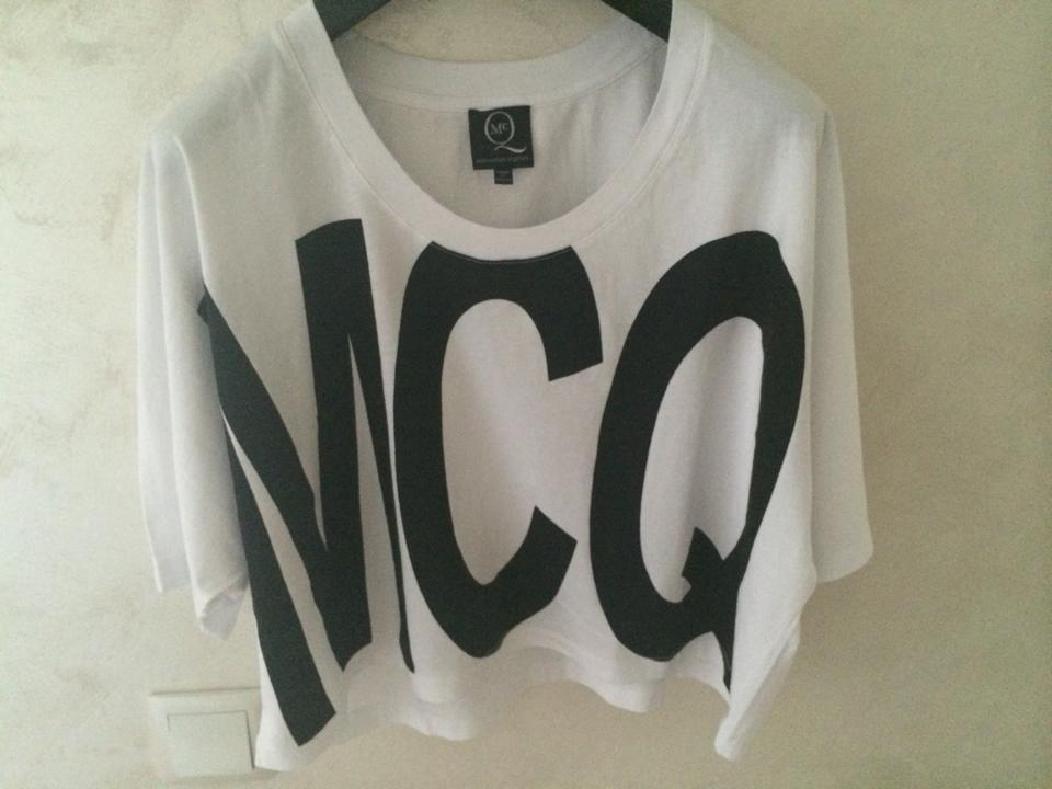 New mcq by alexander mcqueen logo print white t