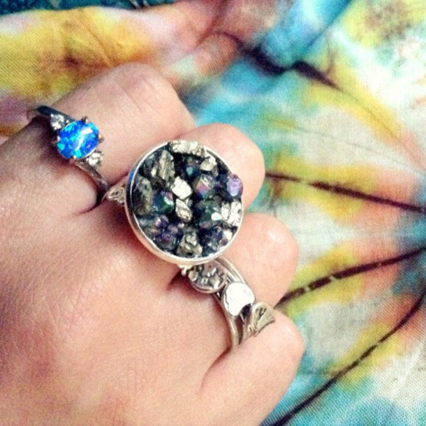 jewels ring boho festival chic vintage gypsy hippie silver fashion silver ring moon tie dye hippie chic hippie ring hippie jewels grunge jewelry alternative hipster indie punk