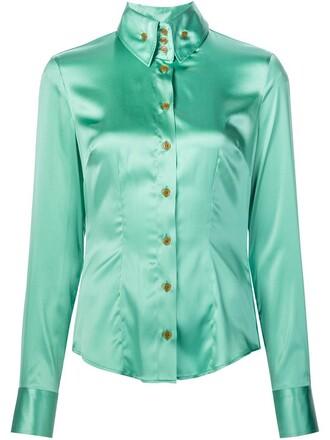 shirt button down shirt high women spandex silk green top
