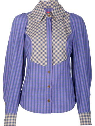 shirt checked shirt women cotton purple pink top