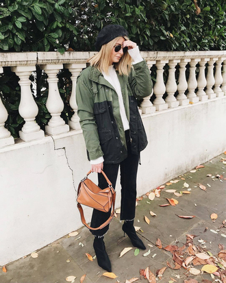 jacket tumblr army green jacket denim jeans black jeans cropped jeans boots black boots ankle boots sunglasses beret bag