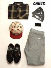fresh look,duval camper,5 panel hat,plaid shirt,black shoes,outfit grid,style,menswear,fall outfits