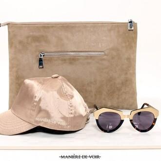 bag maniere de voir clutcg clutch suede nude enamel sunglasses satin cap accessoies accessories essential