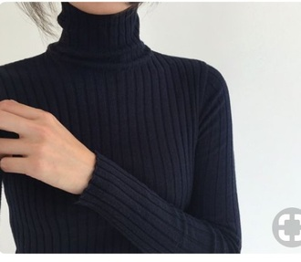 top black tight jumper high neck turtleneck warm