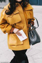 jacket,tumblr,yellow,yellow coat,yellow jacket,oversized jacket,oversized,bag,black bag,pants,black pants,fashion week 2017,streetstyle,black wide-leg velvet pants,wide-leg pants,wide-leg velvet pants,black velvet pants,velvet pants