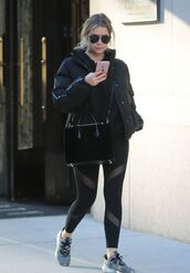 leggings,jacket,sneakers,ashley benson,streetstyle
