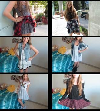 dress brandy melville flannel shirt cute teenagers tumblr youtuber dani noe daninoe cool perfect skirt t-shirt girl girly shirt