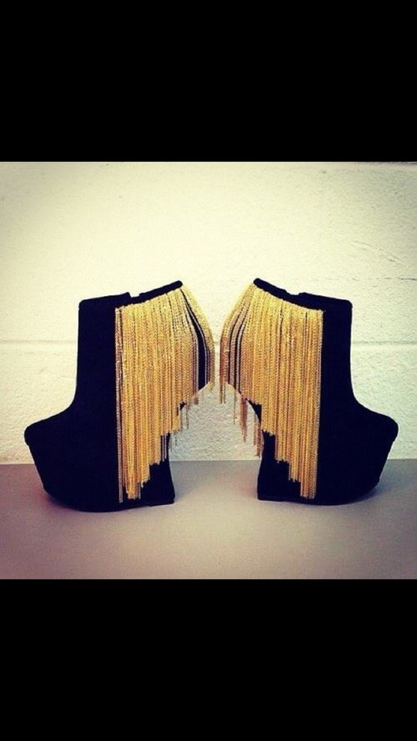 shoes wedges black wedges wedge booties curved wedge gold chain booties