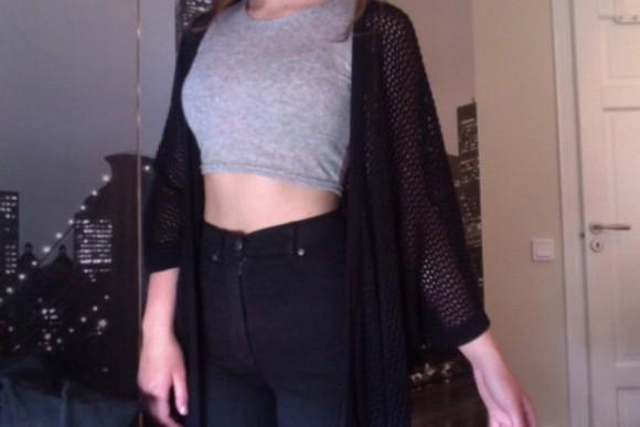 jeans grey holes cardigan fishnet highwaited fishnet cardigan cropped tank top open knit