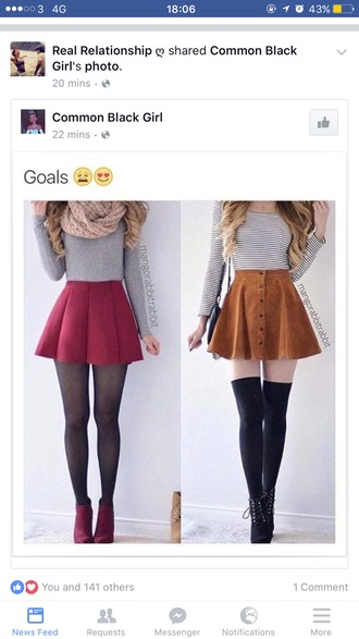 skirt it's a red skater skirt and a fitted grey top the boots are velvet red and the scalf is a dark beige colour .