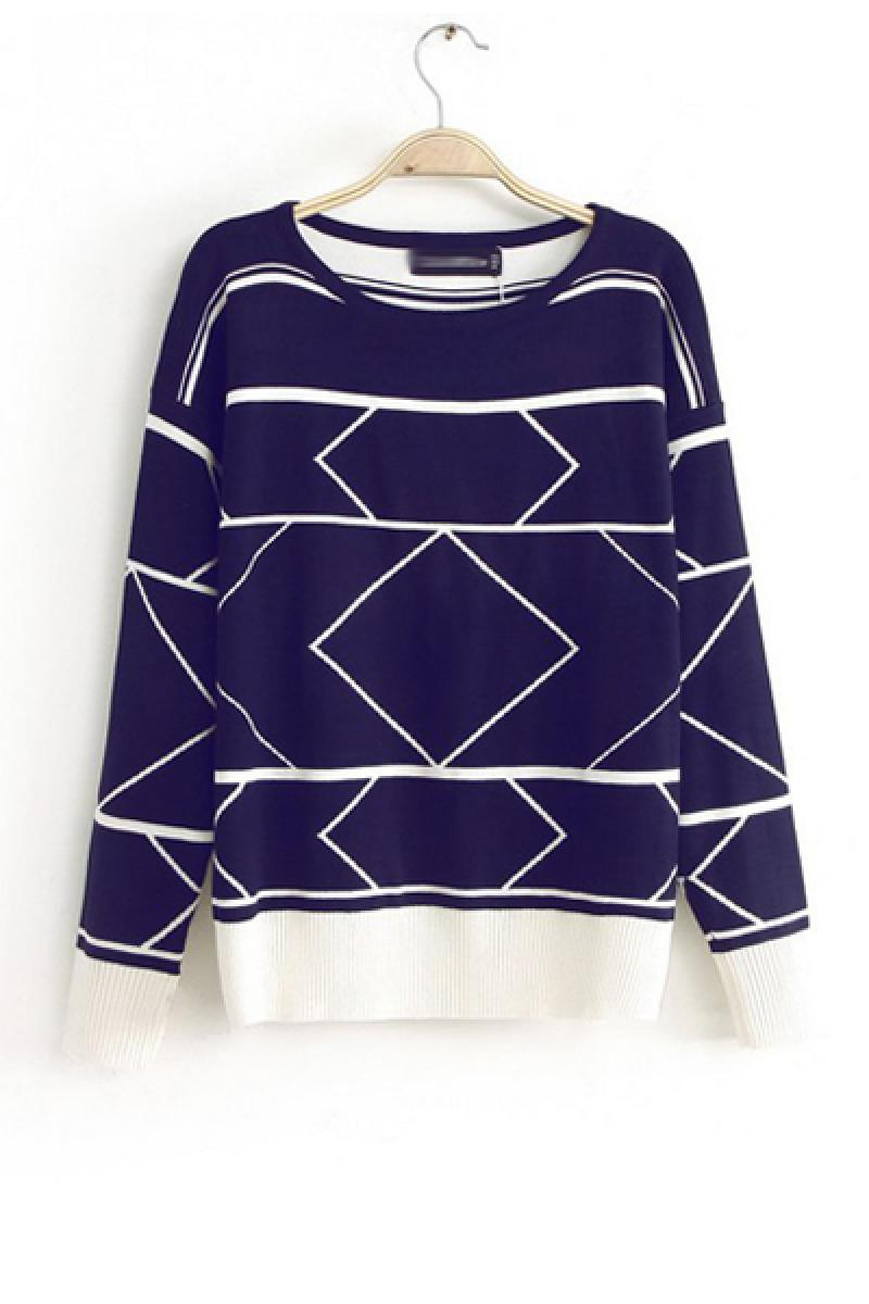 2013 Autumn & Winter New Section Contrast Color Geometric Pattern Pullover Sweater,Cheap in Wendybox.com