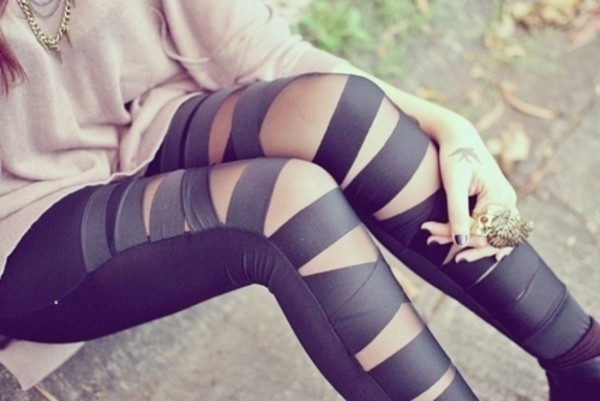 tights pants leggings leggings black leggings leather black jeans black pants ripped pullover sweater ring jewelry nail polish jewels clothes style stripes black tights tumblr