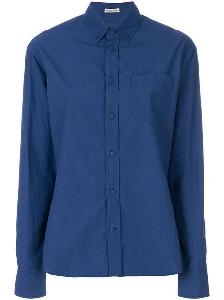Tomas Maier shirt women boyfriend cotton blue top