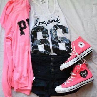 pants black shorts pink shoes pink jacket