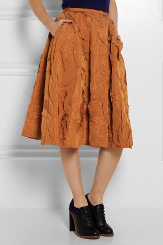skirt crinkled silk-taffeta midi skirt rochas