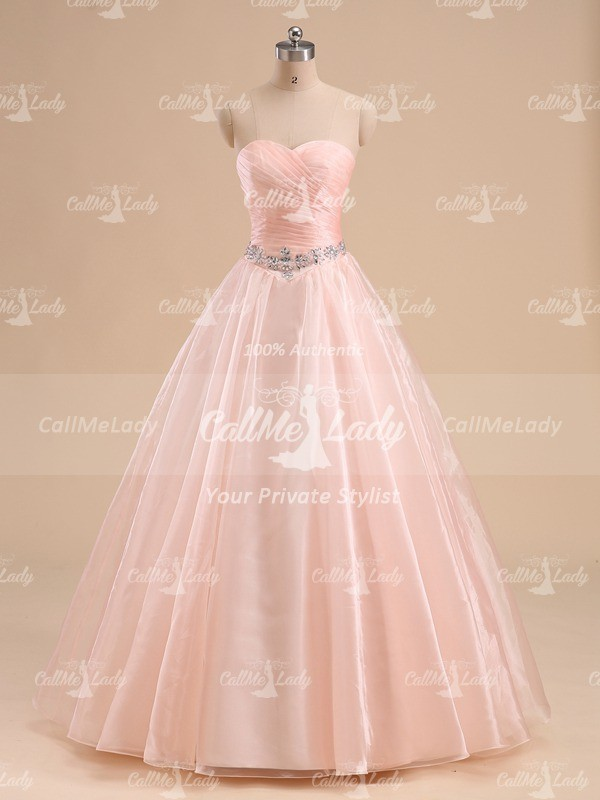 Elegant peach pleats sleeveless long quinceanera dress - CallMeLady