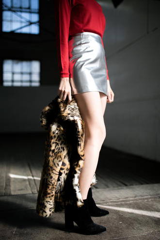 skirt tumblr top red top mini skirt silver silver skirt metallic skirt metallic boots black boots ankle boots high heels boots jacket printed jacket printed fur jacket fur jacket