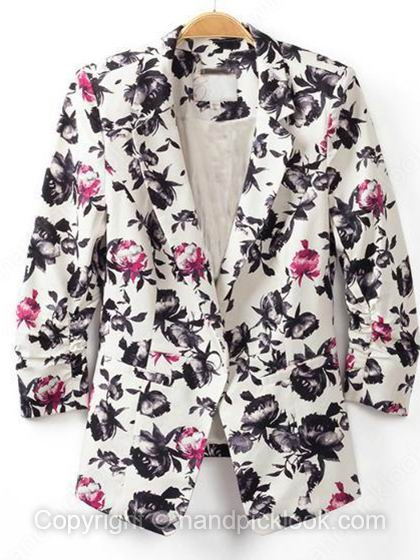 White Notch Lapel Three Quarter Length Sleeve Floral Print Blazer - HandpickLook.com