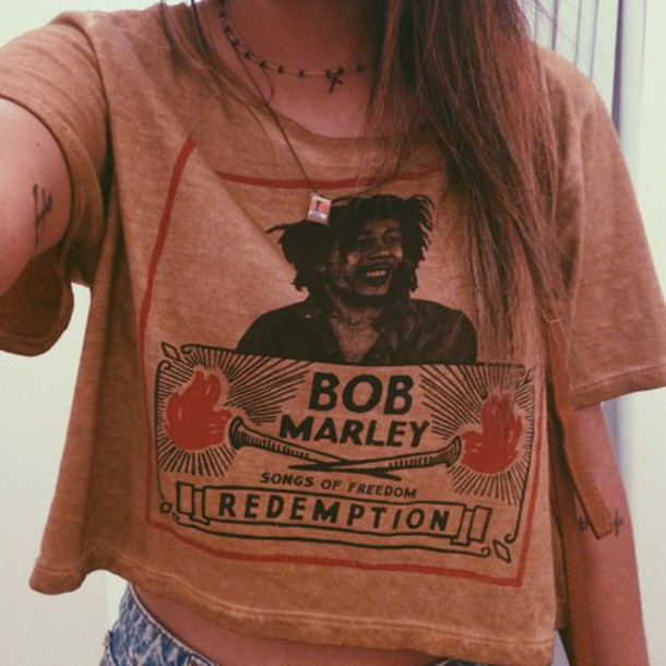 t-shirt bob marley top crop tops indie alternative festival brown old school cute jeans tattoo fashion nice perfect