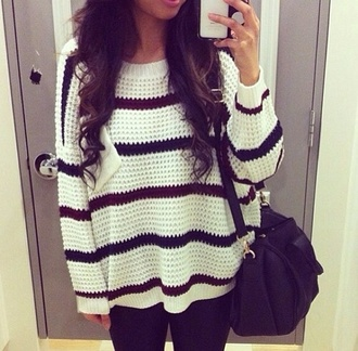 sweater jewels striped jumper oversized stripes oversized sweater striped sweater bag black cute hipster red sweater white sweater comfy comfy sweater style