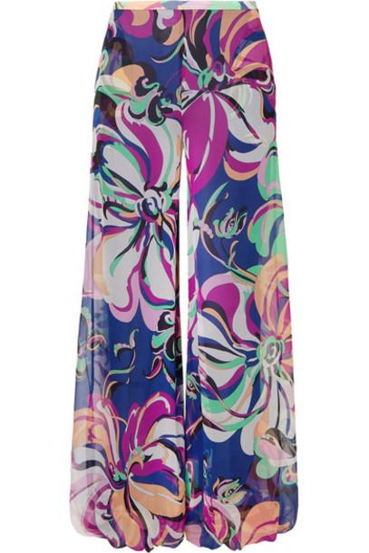 Emilio Pucci pants wide-leg pants navy silk