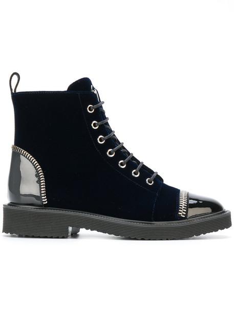 GIUSEPPE ZANOTTI DESIGN women leather blue velvet shoes