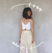 skirt,cream skirt,maxi skirt,white crop tops,creme skirt,boho
