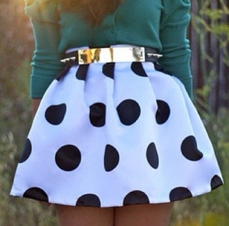 skirt black and white short skirt skirts with belts cute skirt belt shirt turquoise polka dots gold