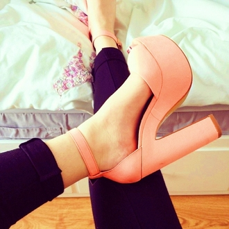 shoes high heels spring orange shoes platform heels pastel platforms lovely