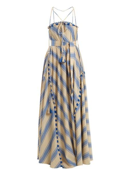 Dodo Bar Or dress tassel embellished cotton white blue