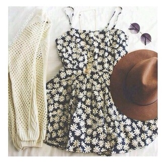 dress black daisy little black dress festival summer dress summer outfits hat cardigan