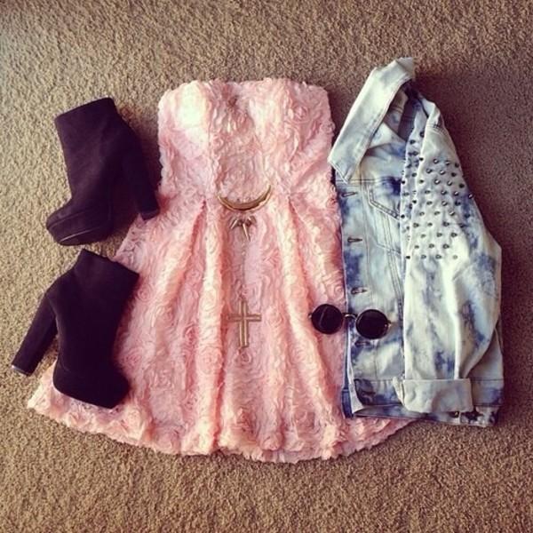 dress roses pink floral dress pink dress rose dress jacket jewels shoes