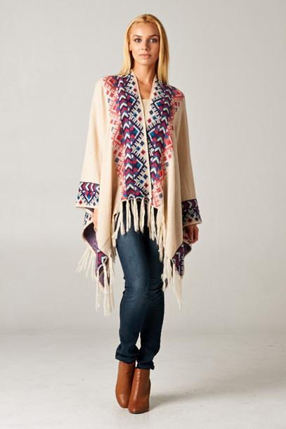 cardigan clothes fashion coat jacket fall outfits fringes boho boho chic lookoftheday fall outfits